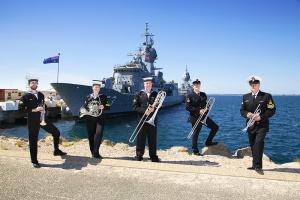 Royal Australian Navy Band Western Australia Brass Quintet at HMAS Stirling in Western Australia.