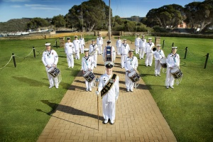 Royal Australian Navy Band Western Australia ensemble group at HMAS Stirling in Western Australia.