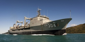 HMAS Success (II) passes through the Whitsunday passage on her voyage from Singapore to Sydney