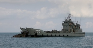 Landing Craft Heavy, HMAS Betano recovers an Army Lighter, Amphibious Resupply Cargo
