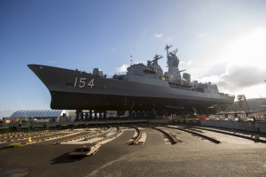 HMAS Parramatta (IV) undocking after her Anti-Ship Missile Defence upgrade.