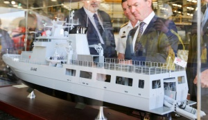 A model of the Arafura class offshore patrol vessel on display at Osborne Naval Shipyard in Adelaide.