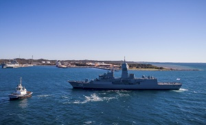 HMAS Arunta returns to Fleet Base West after completing the Anzac Mid-life Capability Assurance Program upgrade.