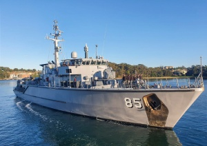 HMAS Gascoyne departing HMAS Waterhen to conduct work ups as part of her Unit Readiness Evaluation held off the coast of New South Wales.