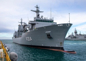 Auxiliary Oiler Replenisher NUSHIP Stalwart prepares to berth at Fleet Base West in Western Australia for the first time.
