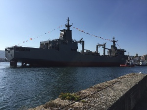NUSHIP Stalwart in the water in Ferrol, Spain following her launch.