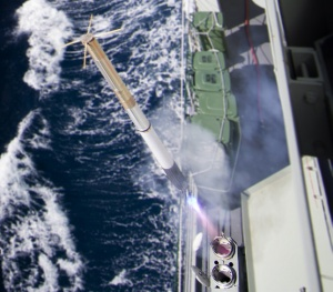 HMAS Darwin conducts a Nulka Active Missile Decoy firing in the Eastern Australian Exercise Area.